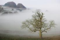 Fog in the valley below the caravan site